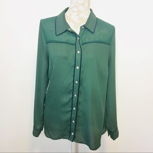 ModCloth Long Sleeve Snap Blouse 1X Green 1243